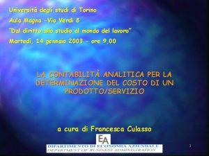 Universit degli studi di Torino Aula Magna Via