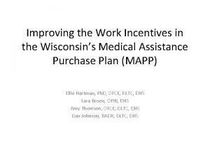 Improving the Work Incentives in the Wisconsins Medical