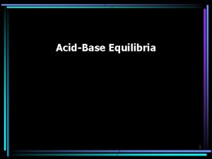 AcidBase Equilibria 1 Solutions of a Weak Acid
