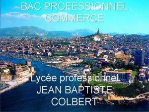 BAC PROFESSIONNEL COMMERCE Lyce professionnel JEAN BAPTISTE COLBERT