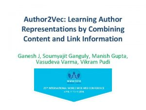 Author 2 Vec Learning Author Representations by Combining