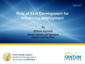 Role of Skill Development for enhancing employment By