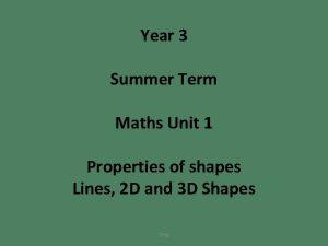 Year 3 Summer Term Maths Unit 1 Properties