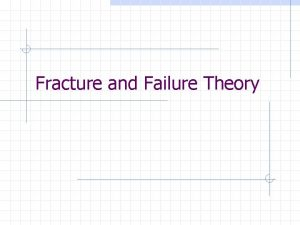 Fracture and Failure Theory Defining Failure can be