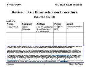 November 2006 doc IEEE 802 11 061567 r