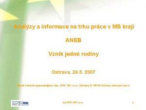 Analzy a informace na trhu prce v MS