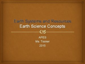 Earth Systems and Resources Earth Science Concepts APES