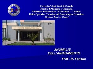 Universita degli Studi di Catania Facolt di Medicina