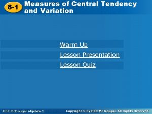 Measures of Central Tendency 8 1 and Variation