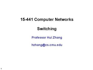 15 441 Computer Networks Switching Professor Hui Zhang