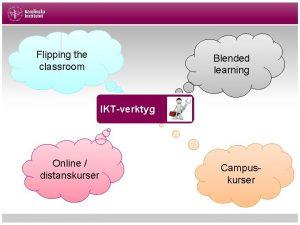 Flipping the classroom Blended learning IKTverktyg Online distanskurser