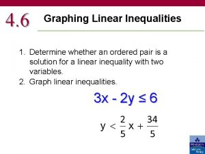 4 6 Graphing Linear Inequalities 1 Determine whether