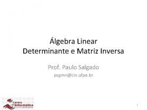 lgebra Linear Determinante e Matriz Inversa Prof Paulo