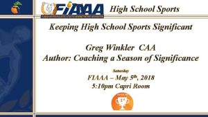 High School Sports Keeping High School Sports Significant