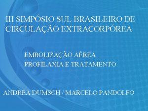III SIMPSIO SUL BRASILEIRO DE CIRCULAO EXTRACORPREA EMBOLIZAO