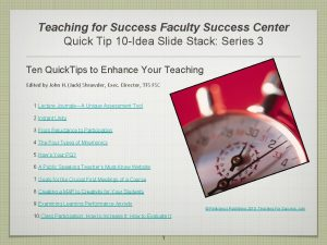 Teaching for Success Faculty Success Center Quick Tip
