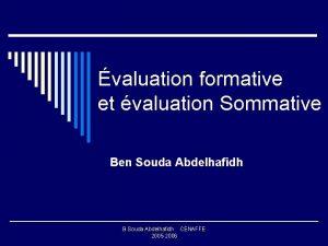 valuation formative et valuation Sommative Ben Souda Abdelhafidh