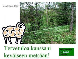 Leena Kulmala 2005 Tervetuloa kanssani keviseen metsn Klikkaa