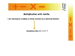 Multiplication with tenths I am learning to multiply