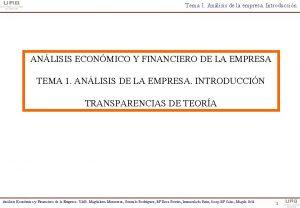 Tema 1 Anlisis de la empresa Introduccin ANLISIS