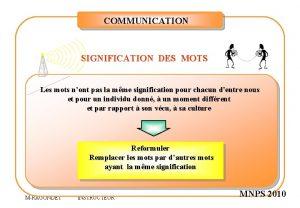 COMMUNICATION SIGNIFICATION DES MOTS Les mots nont pas