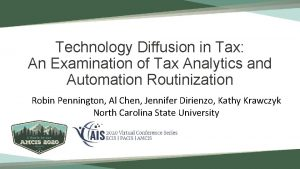 Technology Diffusion in Tax An Examination of Tax