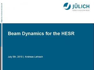 Mitglied der HelmholtzGemeinschaft Beam Dynamics for the HESR