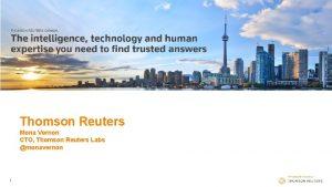 Thomson Reuters Mona Vernon CTO Thomson Reuters Labs