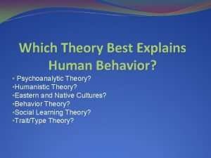 Which Theory Best Explains Human Behavior Psychoanalytic Theory