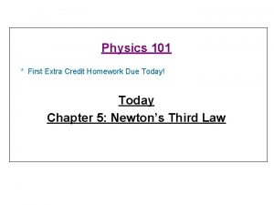 Physics 101 First Extra Credit Homework Due Today