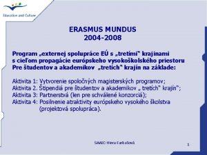 ERASMUS MUNDUS 2004 2008 Program externej spoluprce E