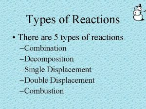 Types of Reactions There are 5 types of