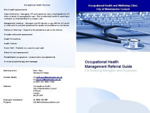 Occupational Health Services Work health assessments Occupational Health