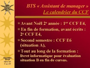BTS Assistant de manager Le calendrier du CCF