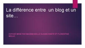 La diffrence entre un blog et un site