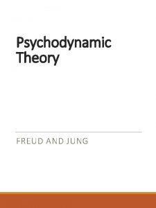 Psychodynamic Theory FREUD AND JUNG Sigmund Freud Born