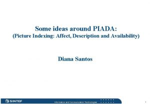 Some ideas around PIADA Picture Indexing Affect Description