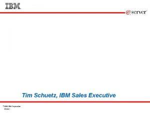 Tim Schuetz IBM Sales Executive 2004 IBM Corporation