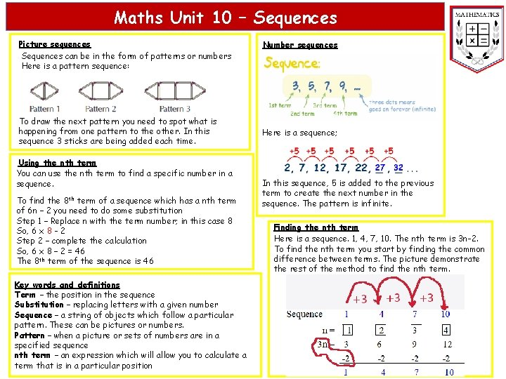 Maths Unit 10 Sequences Picture sequences Sequences can
