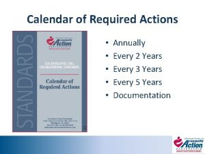 Calendar of Required Actions Annually Every 2 Years