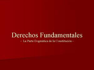 Derechos Fundamentales La Parte Dogmtica de la Constitucin