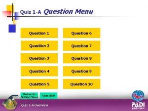 Quiz 1 A Question Menu Question 1 Question