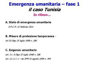 Emergenza umanitaria fase 1 il caso Tunisia In