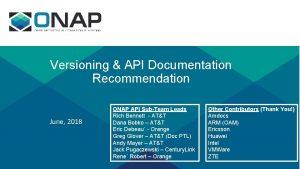 Versioning API Documentation Recommendation June 2018 ONAP API