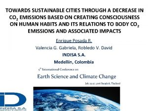 TOWARDS SUSTAINABLE CITIES THROUGH A DECREASE IN CO