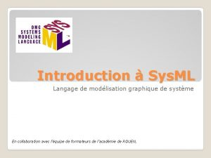 Introduction Sys ML Langage de modlisation graphique de
