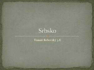 Srbsko Tom Reovsk 3 E Republika Srbija radn