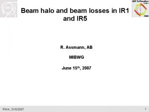 Beam halo and beam losses in IR 1