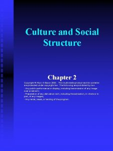 Culture and Social Structure Chapter 2 Copyright Allyn
