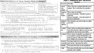 Paper 3 Geographical skills key terms statistics Key